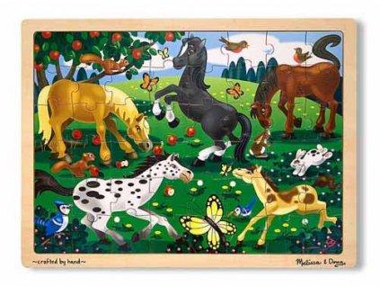 Dřevěné puzzle Dovádiví koně 48 dílků