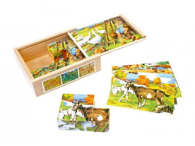 Dřevěné obrázkové kostky - Farma