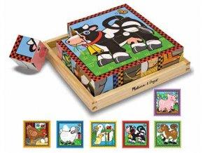 Dřevěné obrázkové kostky Hospodářská zvířata