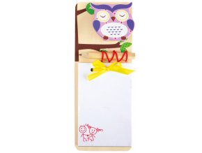 Dřevěný zápisník Fialová sovička