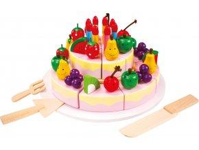 Krájení - velký dřevěný narozeninový dort
