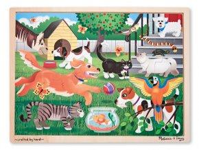 Dřevěné puzzle domácí mazlíčci 24 ks