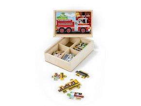 Puzzle dopravní prostředky v krabičce
