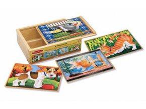 Puzzle s domácími mazlíčky v krabičce