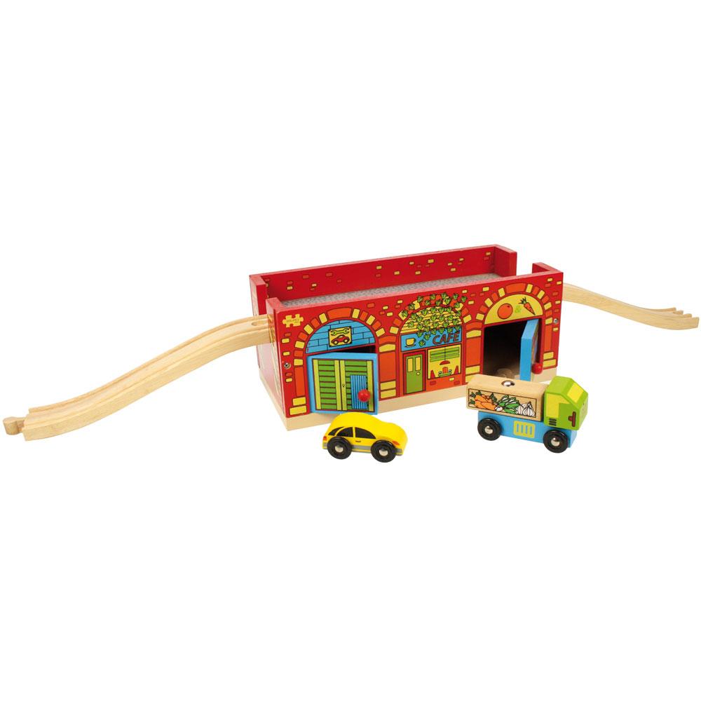 Dřevěná auta, silnice, garáže