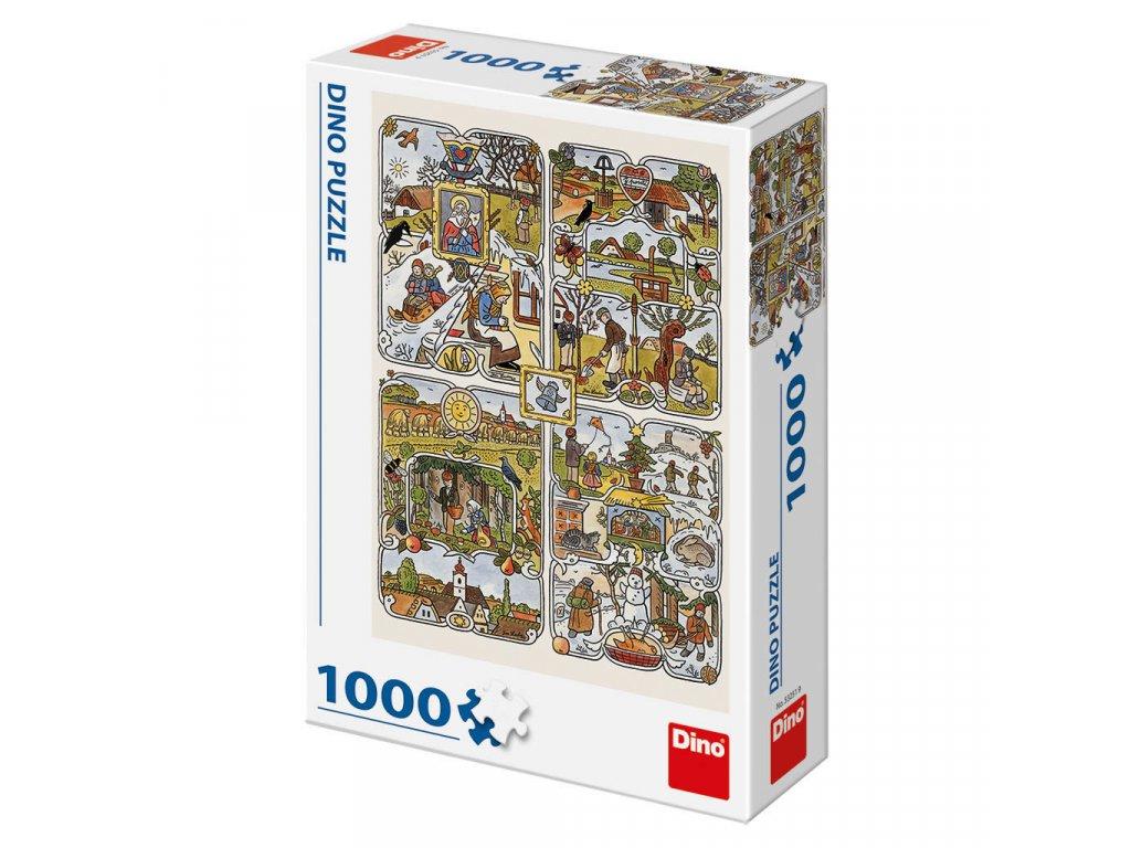 Puzzle 1000 dílků: Josef Lada Roční období