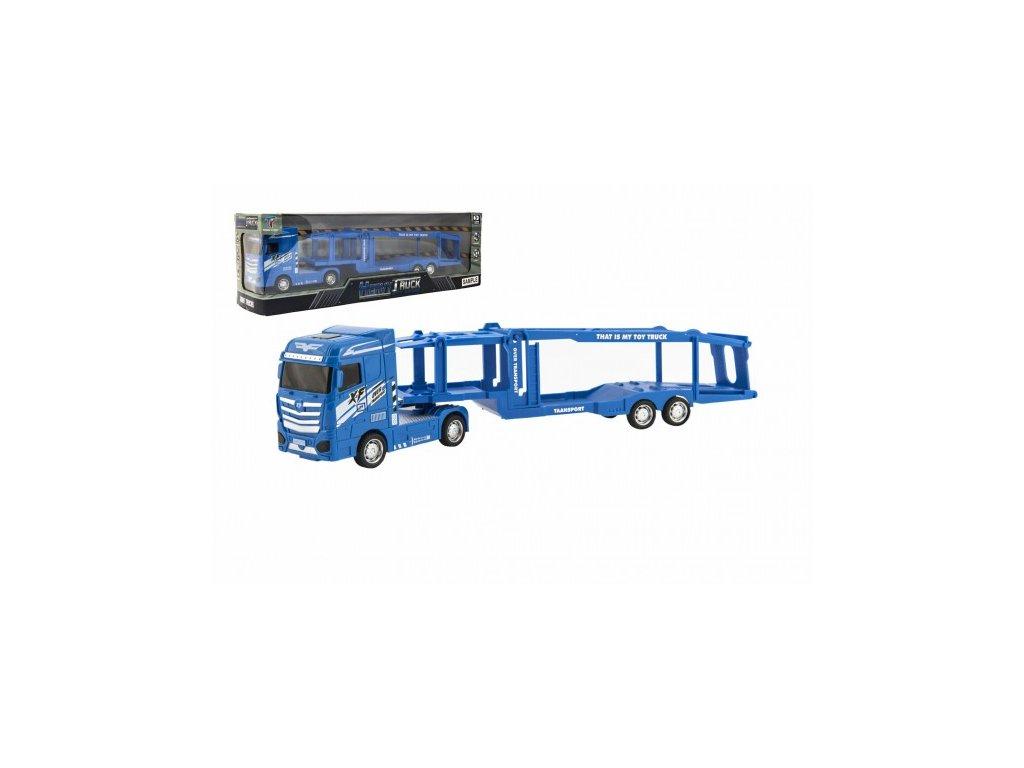 Kamion s návěsem pro přepravu aut na setrvačník se světlem a zvukem