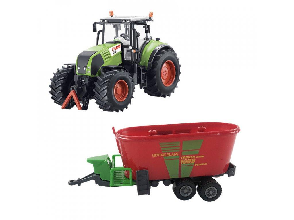 Traktor s valníkem na krmivo