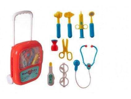 Lékařská sada se stetoskopem na baterie v plastovém kufříku na kolečkách