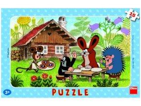 Puzzle 15 dílků deskové Krteček na návštěvě