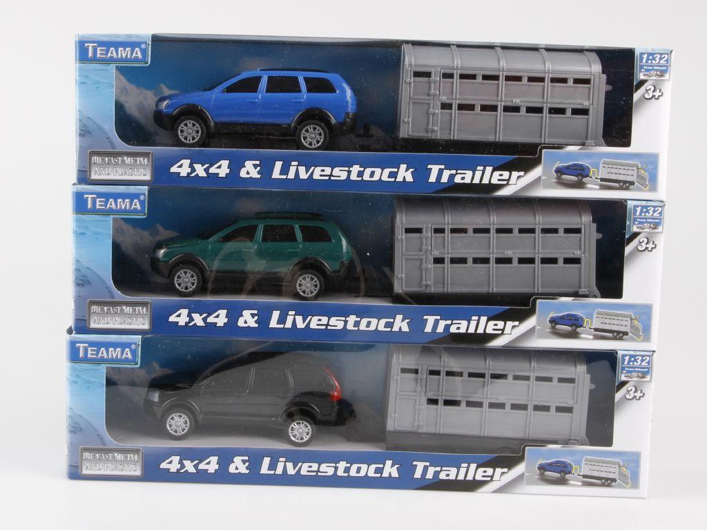 Auto 4x4 s přívěsem přeprava koní barva auta: modré auto