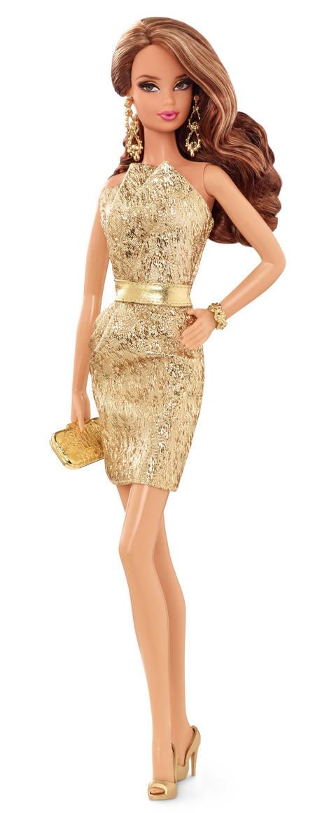 Barbie LOOK sběratelská Barbie LOOK: brunetka, zlaté šaty
