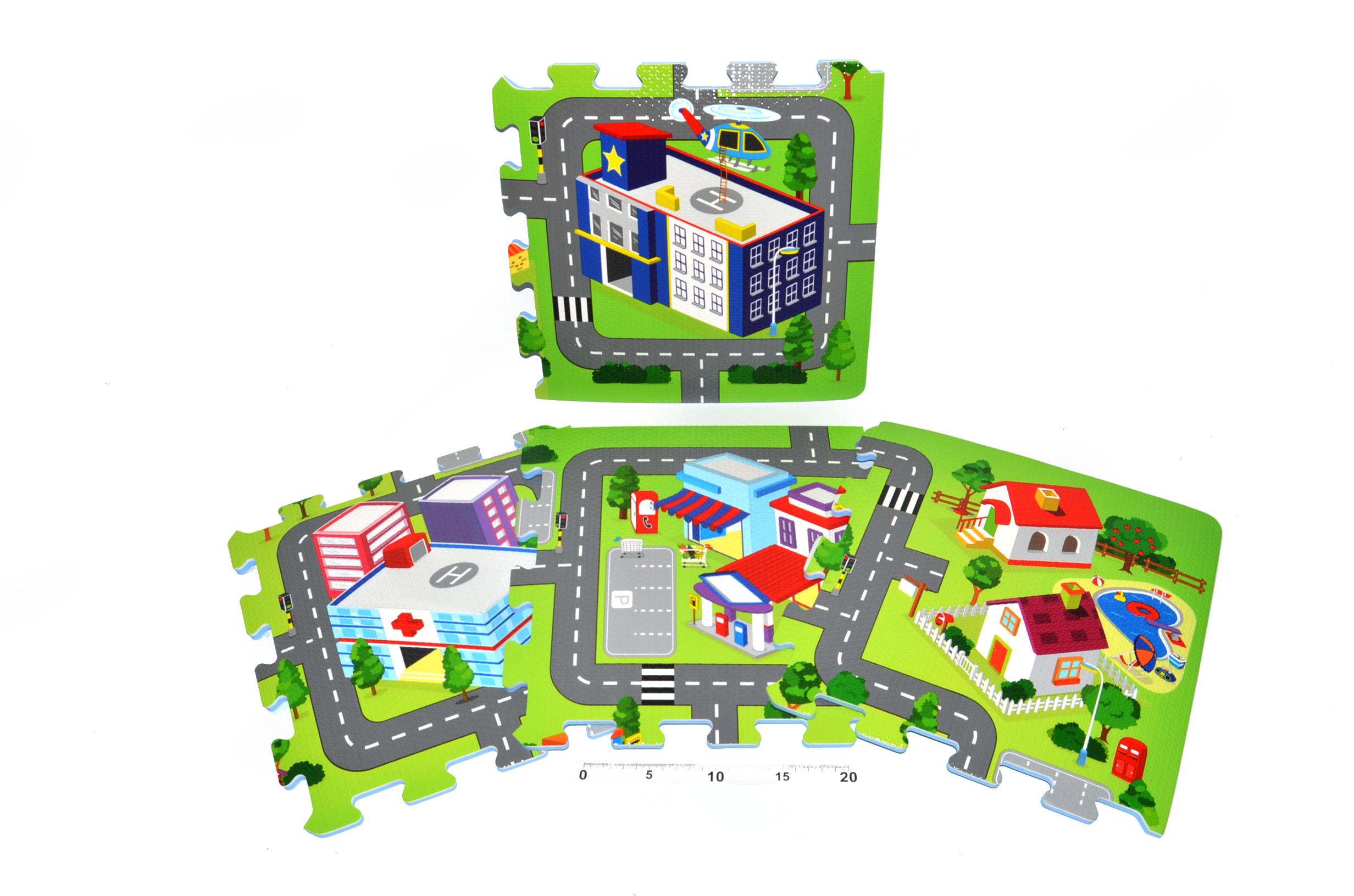 Wiky Pěnové puzzle koberec soft město 32x32