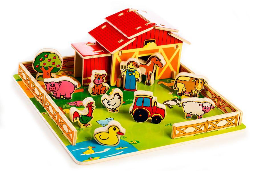 Teddies Domeček dřevěná farma se zvířátky v krabici