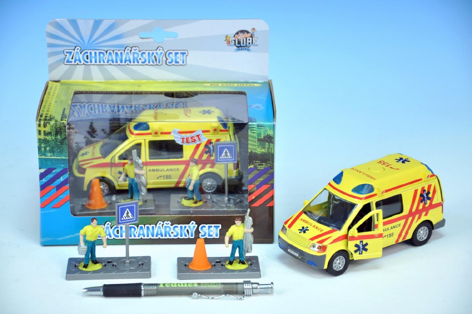 Mikro Trading Auto ambulance kov 13cm s postavičkami na zpětný chod