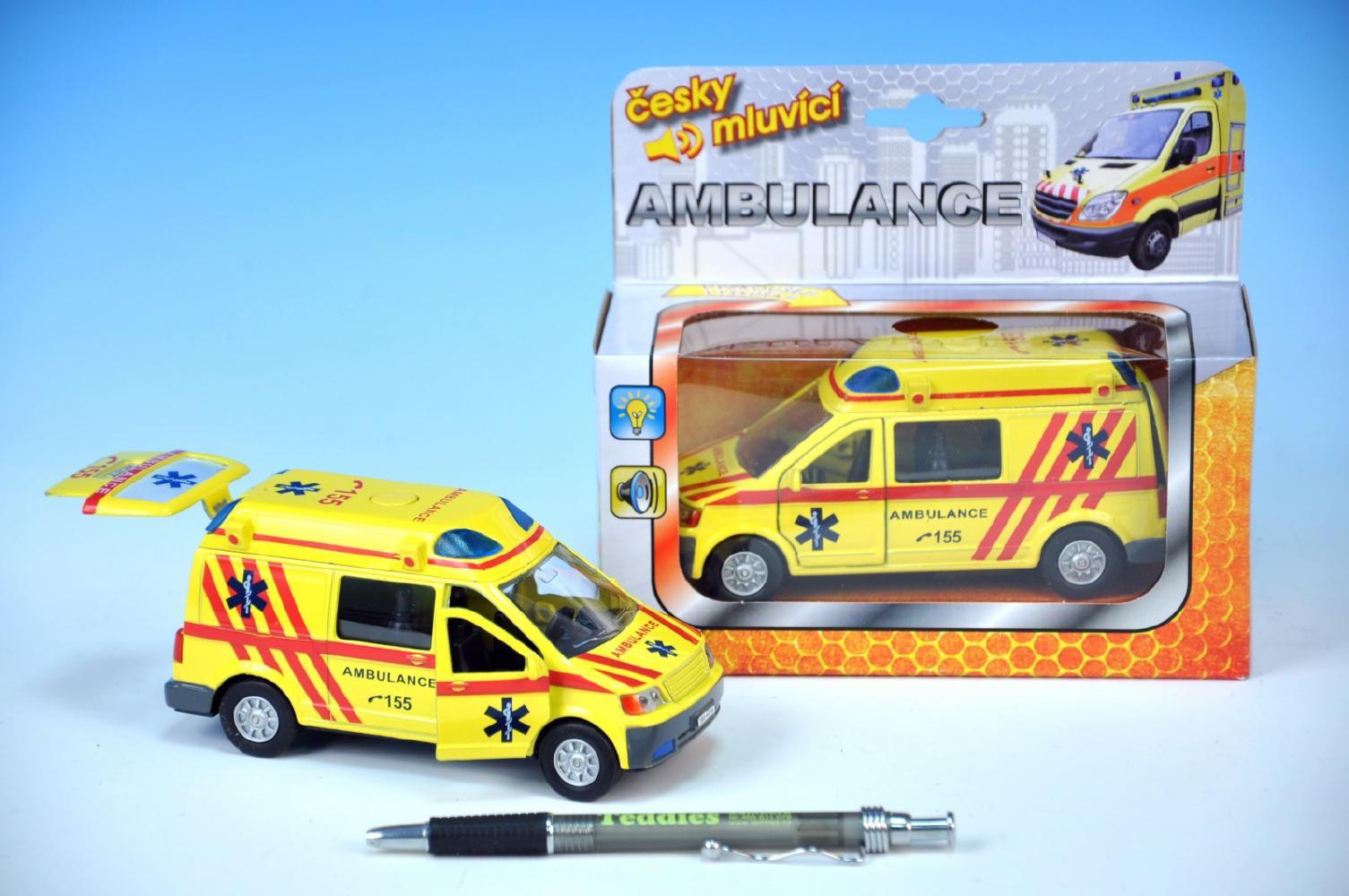 Auto ambulance kov 13cm česky mluvící na zpětné natažení na baterie