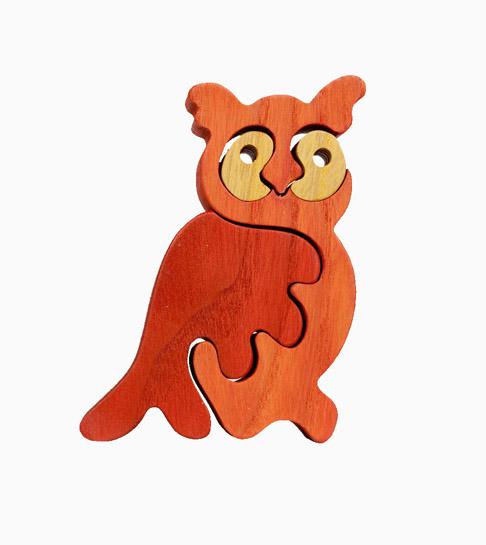 Dřevěné vkládací puzzle z masivu - malá sova