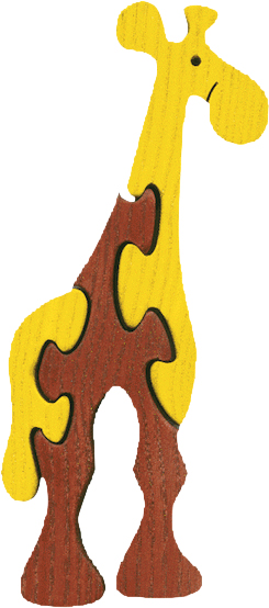 Dřevěné vkládací puzzle z masivu - malá žirafa