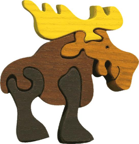 Dřevěné vkládací puzzle z masivu - malý los