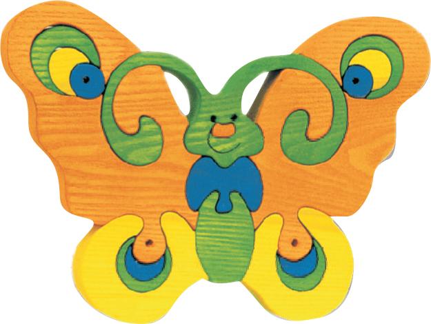 Dřevěné vkládací puzzle z masivu - velký motýl oranžový