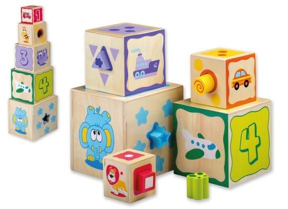 Dřevěné kostky 2 v1 vkládačka + stavebnice
