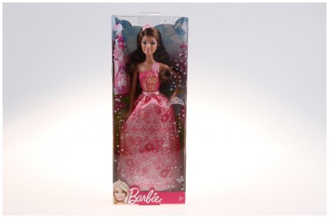 Mattel Barbie Princezna Barbie princezna s korunkou: Růžové šaty,brunetka, korunka na hlavě