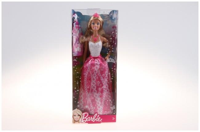 Mattel Barbie Princezna Barbie princezna s korunkou: Růžové šaty,bílý top,korunka na hlavě, blond vlasy