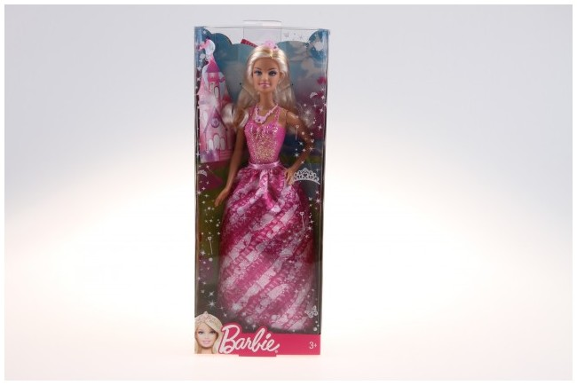 Mattel Barbie Princezna Barbie princezna s korunkou: Purpurové šaty, blond vlasy, korunka na hlavě