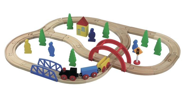 Dřevěné hračky Maxim Vláčkodráha - Kris Kros - 40 kusů - Maxim 50028