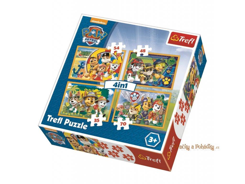 tlapkova patrola Puzzle Tlapková patrola Vždy včas - 4 v1puzzle 4 v 1a