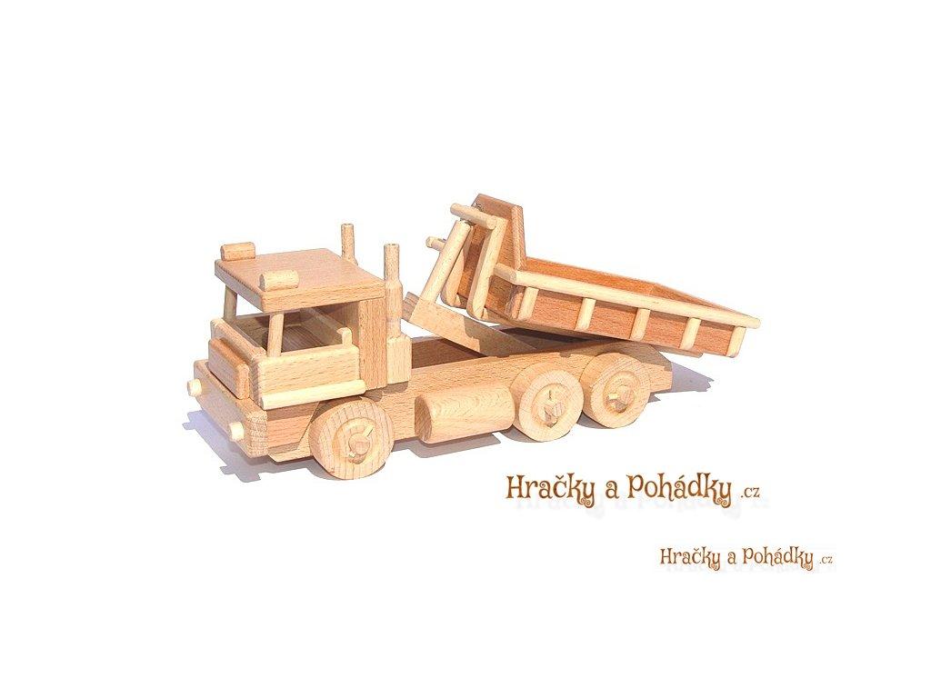 Dřevěné auto s kontejnerem