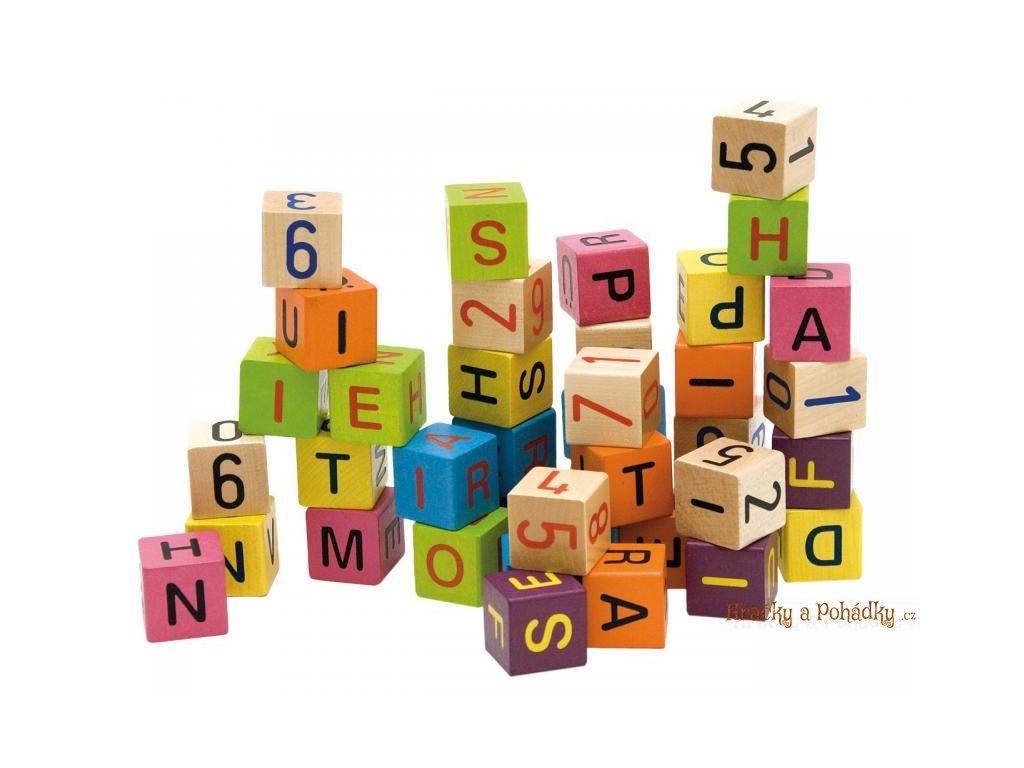 Dřevěné barevné kostky s čísly a písmeny 40 ks