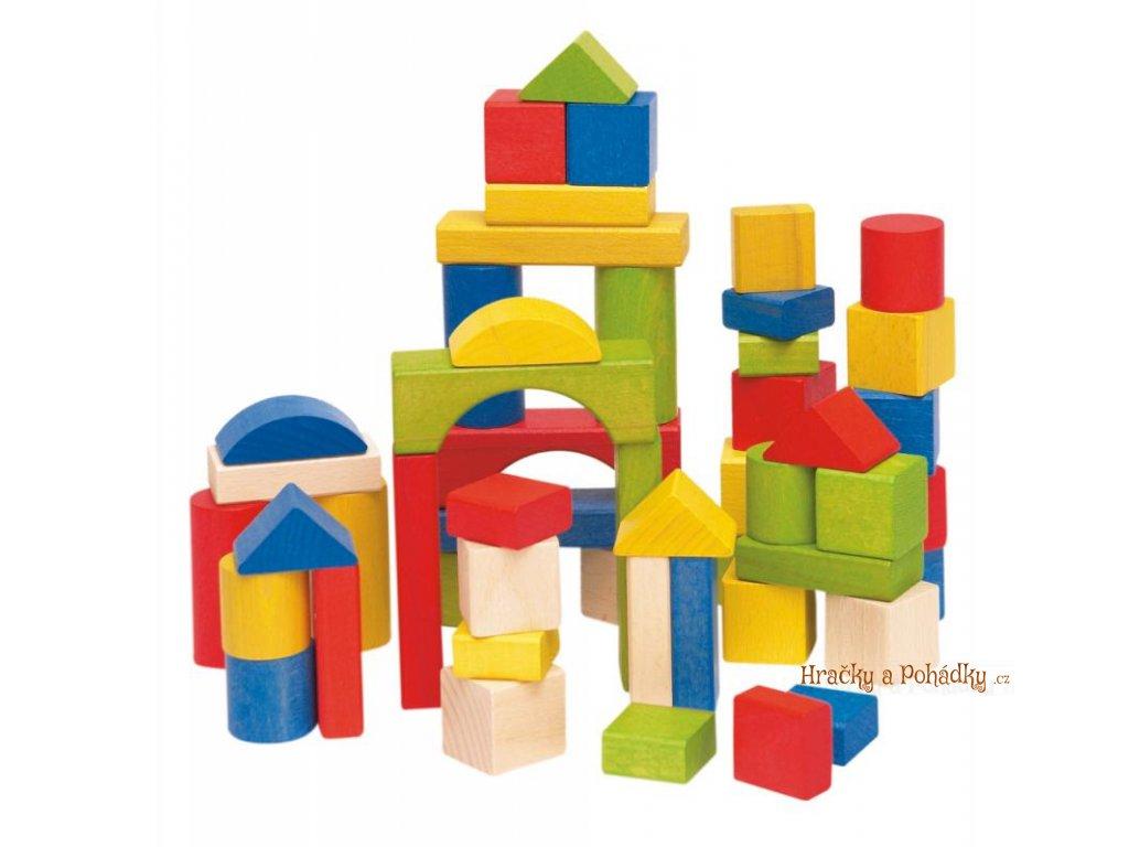 Dřevěné barevné kostky 50 dílů