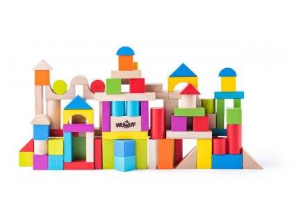 Dřevěná stavebnice - kosty barevné 100 ks