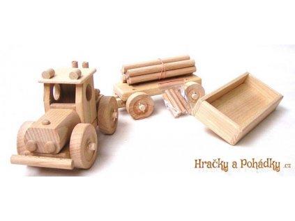 Dřevěný TRAKTOR velký se 2 vlečkami na výměnu
