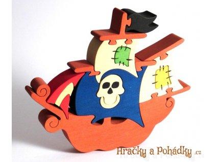 Dřevěné puzzle pirátská loď