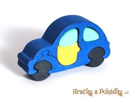 Dřevěné puzzle modré autíčko