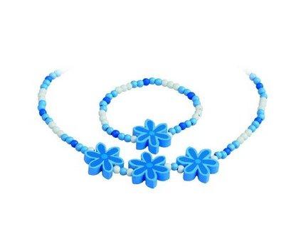 Sada náhrdelník a náramek - modré kytičky