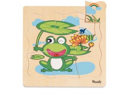 Dřevěné vícevrstvé puzzle Vývoj žáby