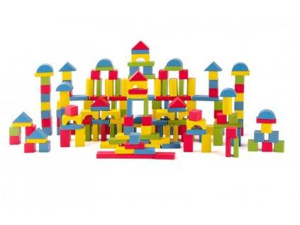 Dřevěná stavebnice - kosty barevné 200 ks