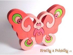 Dřevěné puzzle motýl růžový