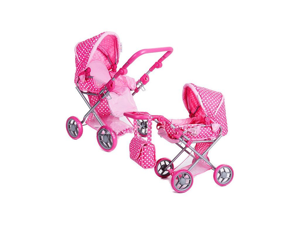 Doris kočárek pro panenky 9346 růžovo-bílý s puntíkama