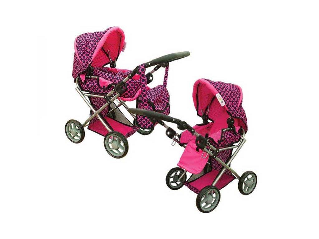 Doris kočárek pro panenky kombinovaný 9346 růžovo černý vzor