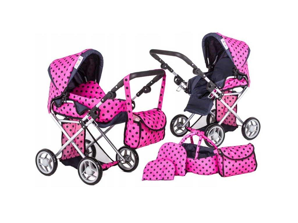Doris kočárek pro panenky kombinovaný 9346 růžový s puntíkama