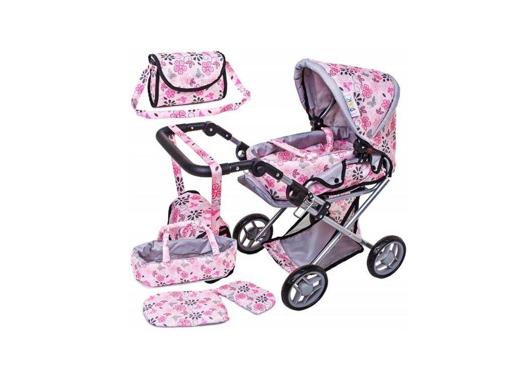 Doris kočárek pro panenky kombinovaný 9346 světle růžový s kytičkami
