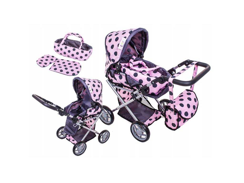 Doris kočárek pro panenky kombinovaný 9346 světe růžový s puntíky