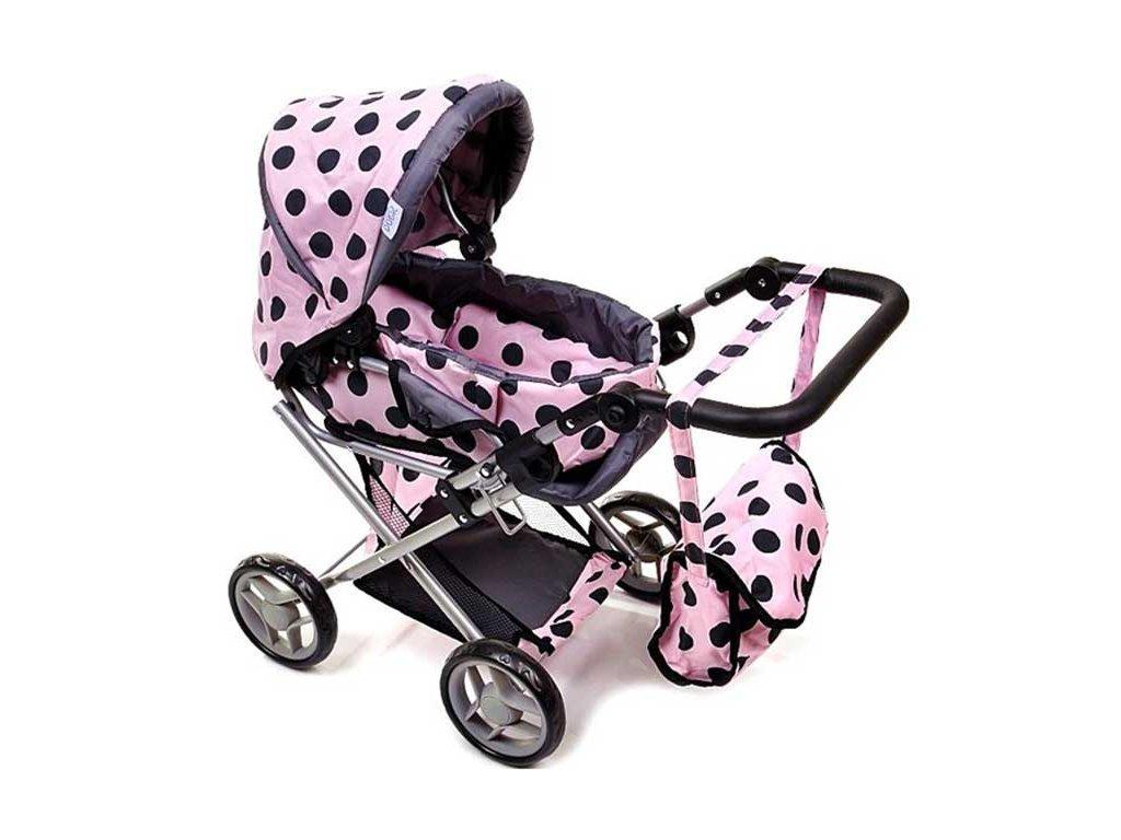 Doris kočárek pro panenky 9346 světle růžový s puntíky