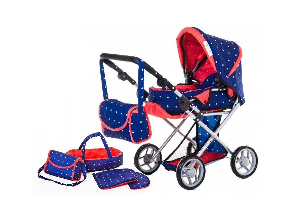 Doris kočárek pro panenky kombinovaný 9346 tmavě modrý