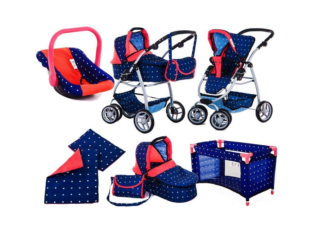 Doris kočárek pro panenky 9662 v 7v1 modrý