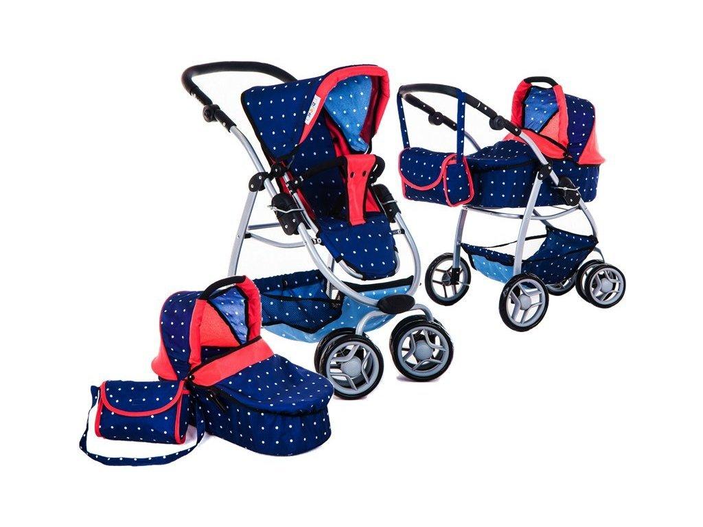 Doris kočárek pro panenky 9662 modrá s puntíkama